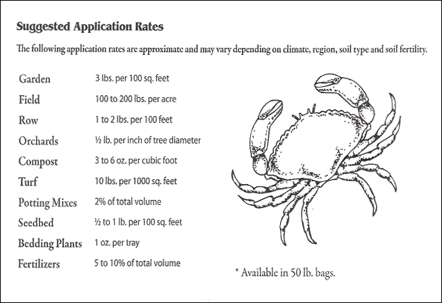 Crab Lobster Shell Organic Soil Amendment Application Rates